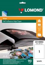 Матовая самоклеящаяся бумага LOMOND, неделенная, А4, 25л. Код 2210003