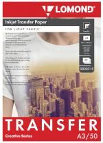 Термотрасфер Lomond для струйных принтеров для светлых тканей, А3, 50л. Код  0808315