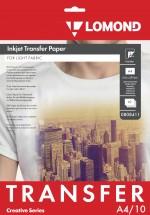 Термотрасфер Lomond для струйных принтеров для светлых тканей, А4, 10л. Код 0808411